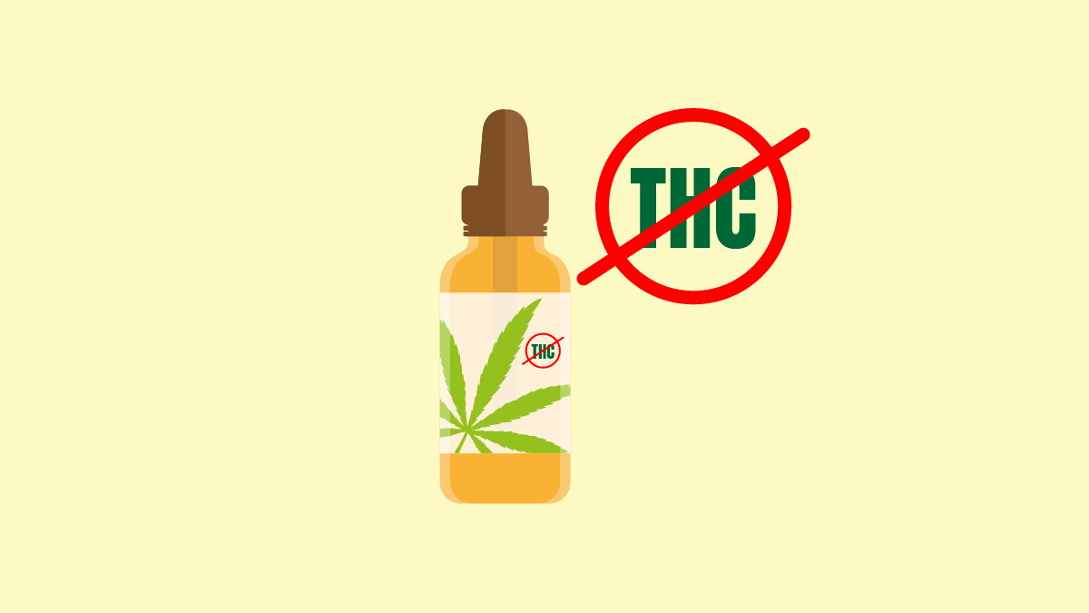 CBD Oil without THC on yellow background