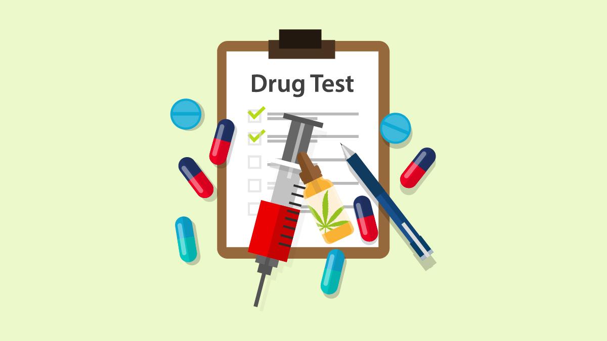 Drug Test with CBD Oil Bottle, Syringe, pen, and other drugs