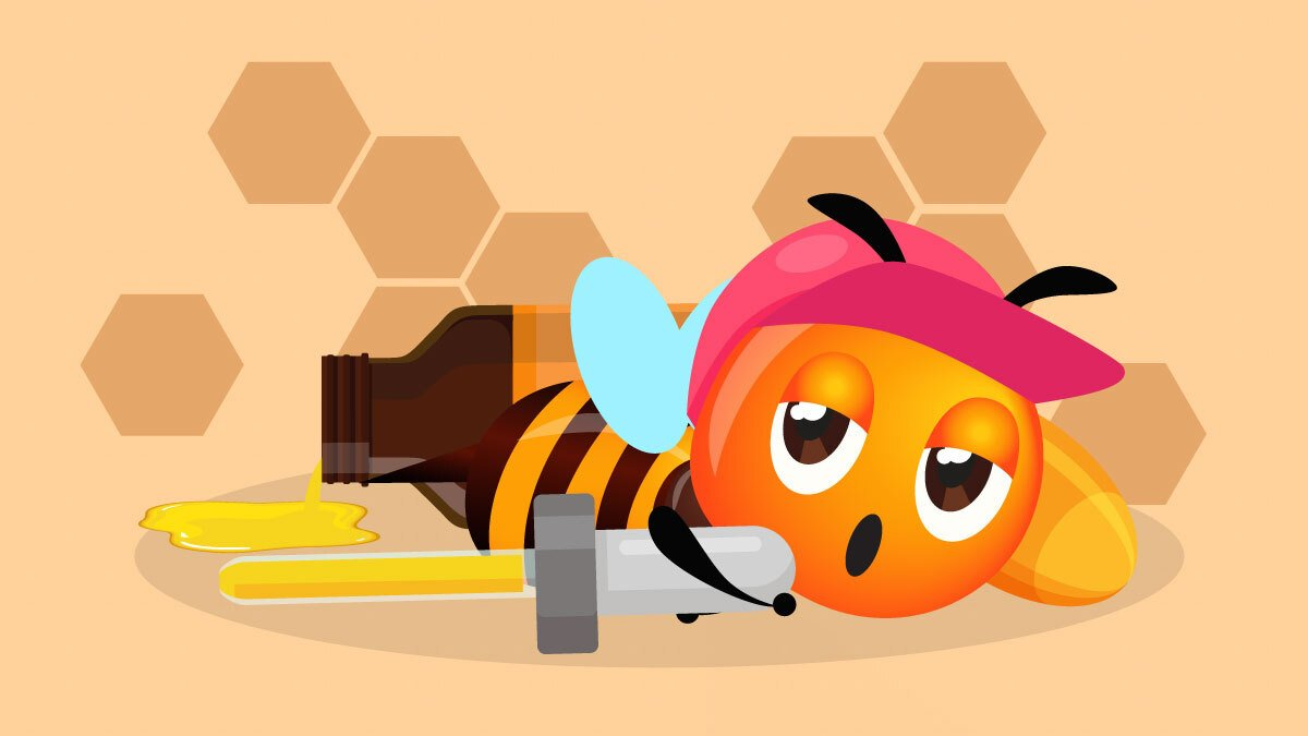 Illustration of a bee feeling sleepy holding cbd oil dropper